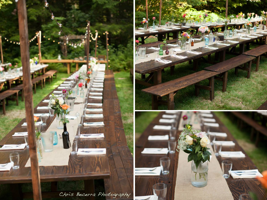Barnwood Table rental by Seattle Farm Tables - Photos by Chris Becerra Photography, DIY Florals, Venue - Wellspring Spa near Mt Rainier - Simple DIY florals, burlap runner. Casual, cute simple tablescape. We rent dark brown wood tables in the Puget Sound area, Seattle, Tacoma, Woodinville, Eastside, San Juan Islands, Snohomish, Kitsap, Seatac Washington. Outdoor wedding, long table. Rustic tables, winery rentals, vineyard rentals, fancy, classy, classic design