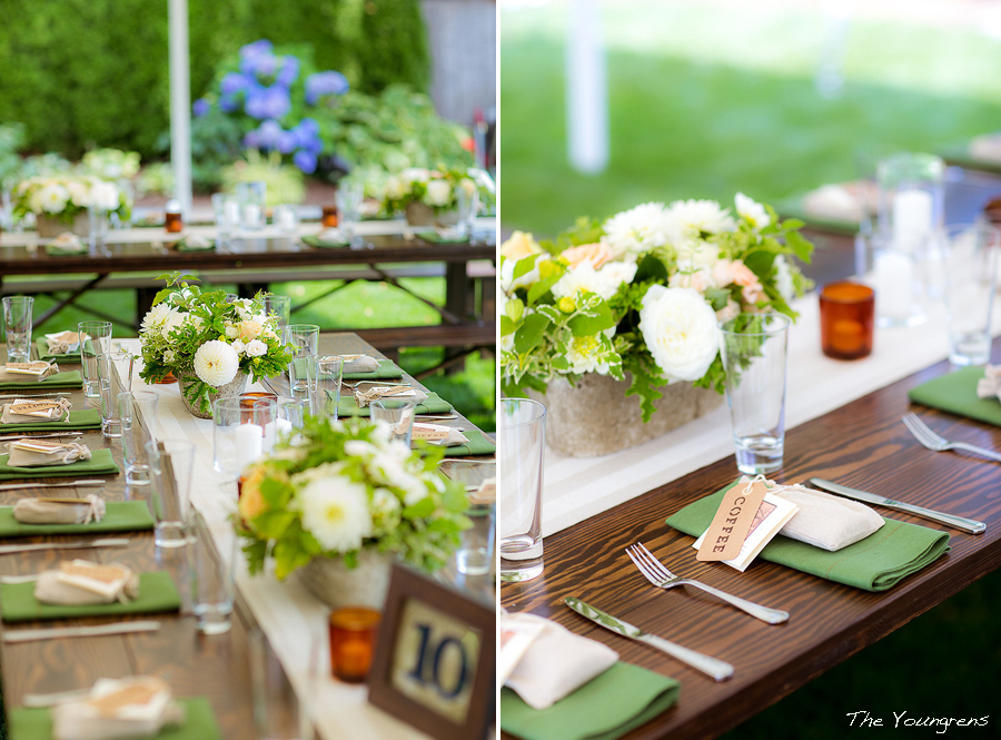 Barnwood Table rentals by Seattle Farm Tables - Photo by The Youngrens, Backyard wedding on Mercer Island, WA, Fun wedding, simple green and white centerpiece - We rent dark brown wood tables in the Puget Sound area, Seattle, Tacoma, Woodinville, Eastside, San Juan Islands, Snohomish, Kitsap, Seatac Washington. Rustic tables, winery rentals, vineyard rentals, wedding rentals, fancy, classy, classic design